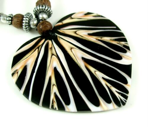 Natural Mosaic Cone Shell Heart Shape Pendant Beads Cord Necklace Jewelry EA300