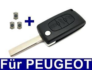 3Tasten Klappschlüssel Gehäuse für PEUGEOT 207 307 407 308 + 3x Taster REPARATUR