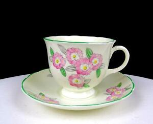 """FOLEY CHINA E. BRAIN & CO CACTUS FLOWERS 2 5/8"""" CUP AND SAUCER 1903-1963"""