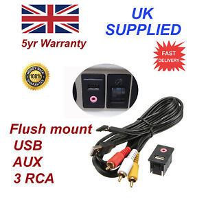 For-Toyota-Car-Dash-Flush-Mount-3-5mm-AUX-amp-USB-MALE-3-RCA-Extension-Cable
