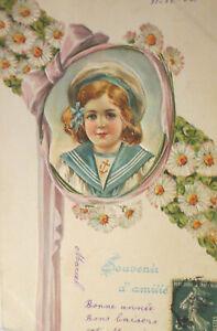 034-Geburtstag-Kinder-Matrose-Blumen-034-1907-Praegekarte