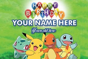 Image Is Loading Personalised POKEMON Boy Kid Children Birthday PVC Banners