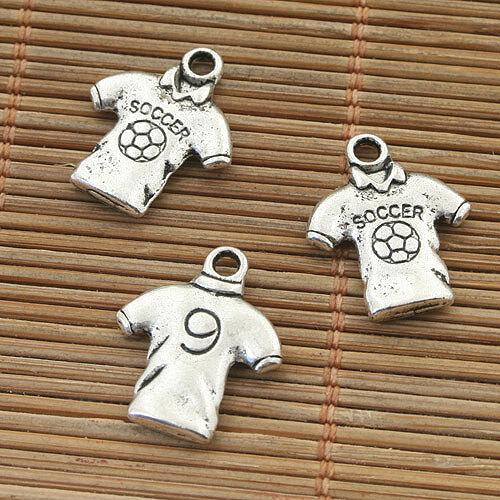 18pcs Tibetan Silver Soccer T-Shirt Design Pendentif h5059