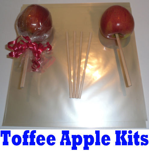 25 Wooden Toffee Apple Sticks with Wrappers and Ribbon Kit Bundle Yolli