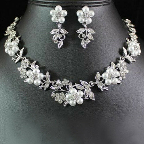 HK- PW_ BG_ FT- JN_ Ladies Bridal Floral Faux Pearl Silver Plated Necklace Earri Fashion Jewelry