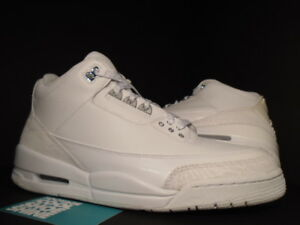 newest f1ee8 f7a10 Details about 2007 NIKE AIR JORDAN III 3 RETRO PURE WHITE SILVER  ANNIVERSARY CEMENT GREY 10.5