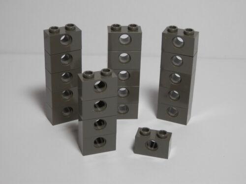 LEGO LEGOS Set of 20 NEW Technic Bricks 1 X 2 with Hole  DARK GRAY