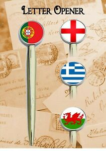 EUROPEAN COUNTRY FLAG LETTER OPENER PERFECT FATHERS DAY//BIRTHDAY GIFT