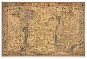 CORNELL University Campus Guide MAP Vintage Reprint Print circa 1928 ...