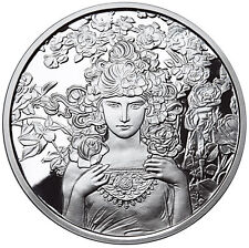 ALPHONSE MUCHA ROSE 1 oz .999 SILVER COIN #3 ART SERIES COLLECTION LIMITED COA