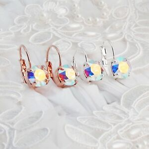 Details About Aurora Borealis Earrings Made With Crystallized Swarovski Elements Gold Ab Box