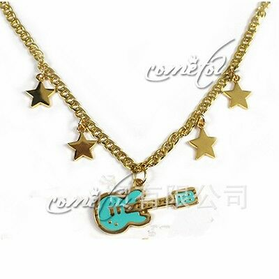 """Anime Super Sonico Guitar Gold Star 2"""" Pendant Necklace Chains Jewelry Cosplay"""
