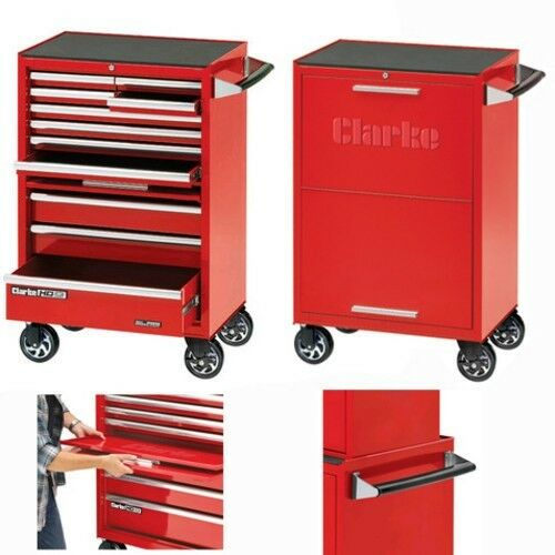 Clarke Cbb211df 26u201d 11 Drawer Mobile Cabinet With Front Cover - Red - 7639005  sc 1 st  eBay & Clarke Cbb211df 26u201d 11 Drawer Mobile Cabinet With Front Cover - Red ...