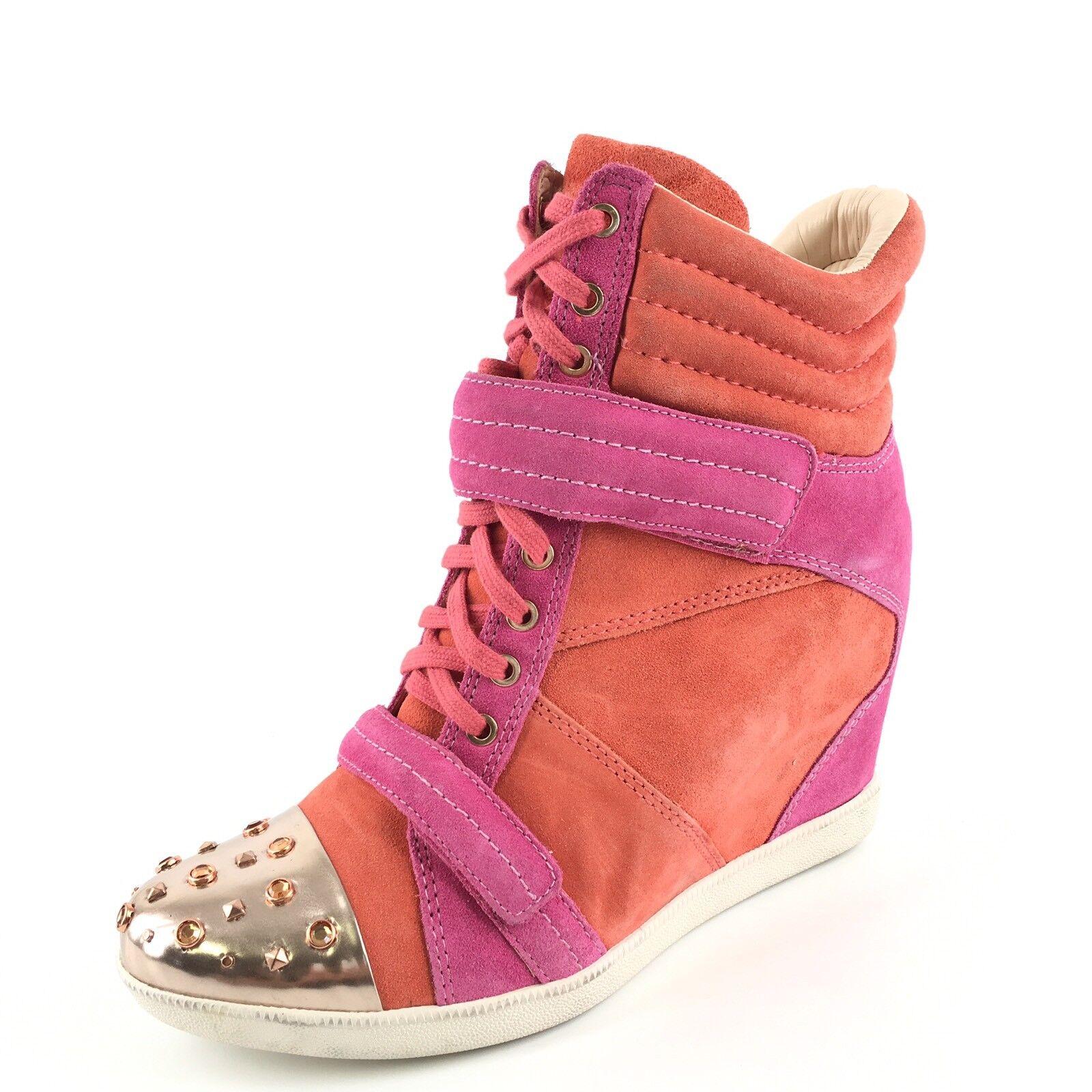 Boutique 9 Nevan Pink Orange Suede Hi-Top Wedge Ankle Stiefel Damenschuhe Größe 10 M