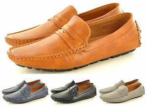Mens-Leather-Look-Casual-Loafers-Moccasins-Slip-on-Driving-Shoes-UK-Sizes-6-11
