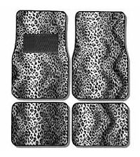4PC SET SNOW LEOPARD SAFARI CAR TRUCK FLOOR MATS CARPET