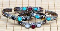 Tibetan 3 Gemstone turquoise onyx Amethyst 3-Color Copper Dorje Cuff Bracelet