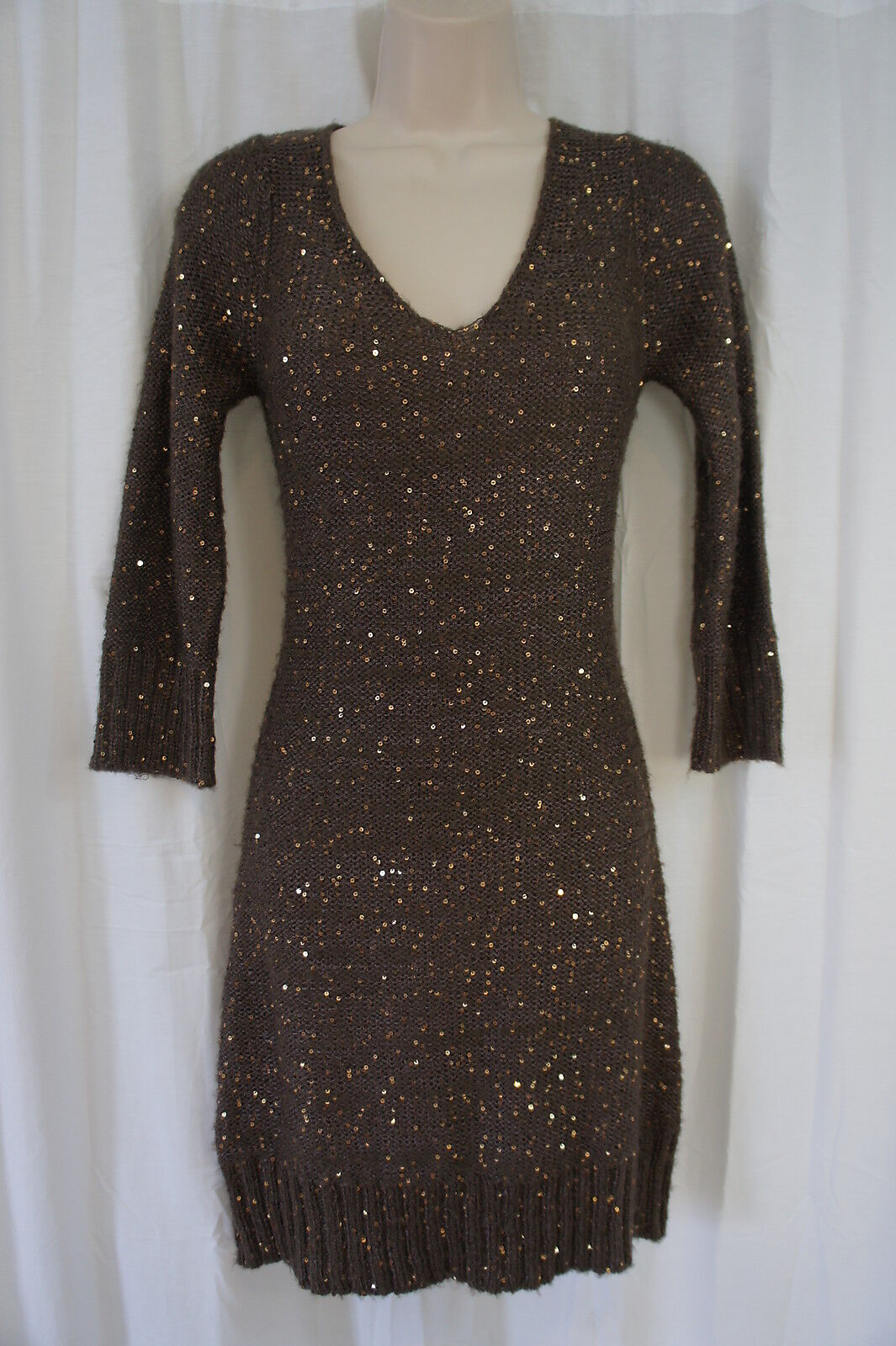 Studio M Petite Dress Sz MP Mocha braun Casual Business Sweater Dress Sequin