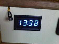 Blue 12v Digital LED Clock with Memory Marine Boat Camper Caravan Horsebox UK