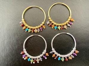 18K Gold Sterling Silver Endless Hoop Earrings Multi Gemstone Amethyst Peridot
