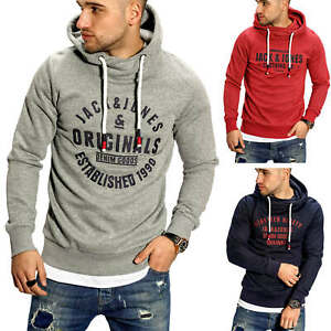 Jack-amp-Jones-senores-Hoodie-sudaderas-sueter-Sweater-hoody-Print-casual