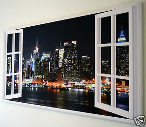 New York Skyline Window Wall Art Canvas Picture 18 X 32 Inch Framed