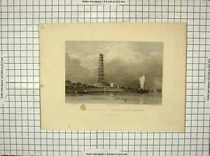 Original-Old-Antique-Print-1831-Chinese-Pagodah-Canton-Whampoa-Fielding-Jeavons