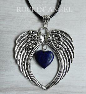 Large-Antique-Silver-Pl-Angel-Wing-Pendant-amp-Lapis-Lazuli-Heart-Necklace-Ladies