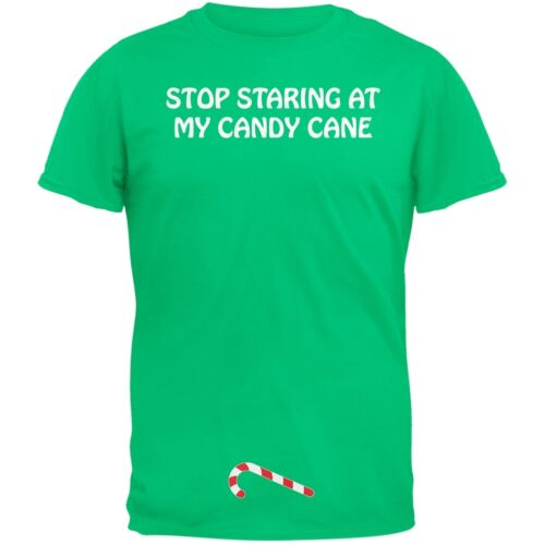 Christmas Stop Staring At My Candy Cane Green Adult T-Shirt Top