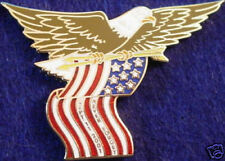 NEVER FORGET 9/11 PIN Eagle USA Flag & 2 Arrows 911 Tribute Memorial September