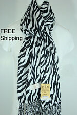 DG Pashmina Scarf Shawl-Zebra Print~Silk Cashmere-Black Whit-Soft*New*Trendy