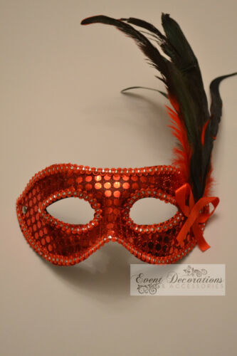 9224 FANCY DRESS MANY COLOURS AVAILABLE FEATHER /& SEQUIN MASQUERADE MASKS
