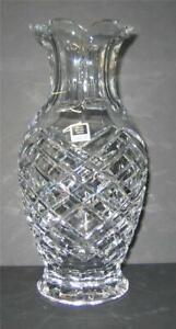 Miller-Rogaska-Lead-Crystal-Vase-10-034-Diamond-Paneled-scallops-Thick-Shimmering