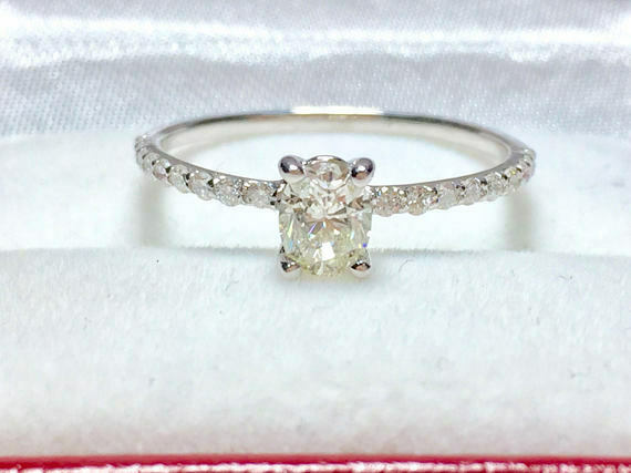0.63 Ct Oval Diamond Engagement Ring 14K Solid White gold Rings Size 5 6 +0302