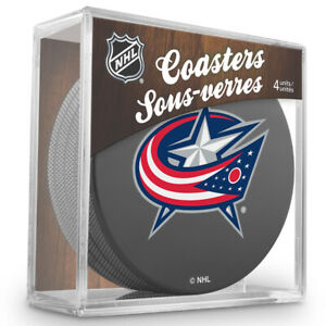 Columbus-Blue-Jackets-NHL-Team-Logo-Hockey-Puck-Coasters-Package-of-4-in-Cube