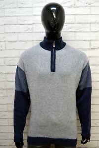 Maglione-Pullover-Grigio-Blu-Lana-Uomo-FILA-Taglia-XXL-Felpa-Sweater-Cardigan