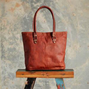 Women-Vintage-Looking-Genuine-Brown-Leather-Tote-Shoulder-Bag-Handmade-Purse