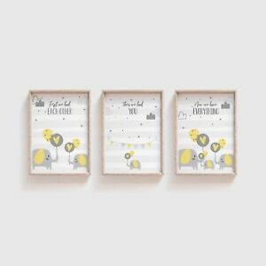 Details About Elephant Nursery Decor Yellow Grey Art Set Of 3 Prints For Boy