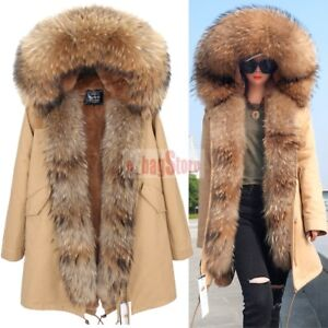 30ee8ee4b Women's Real Raccoon Fur Collar Front Hooded Coat Winter Warm Jacket ...