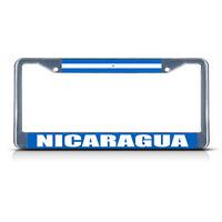 Nicaragua Flag Metal License Plate Frame Tag Border Two Holes