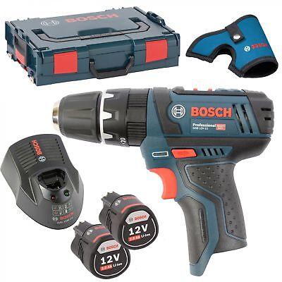 Bosch Akkuschrauber mit Schlag GSB 12V-15 2xAkku 2,0AH + Lader + L-BOXX Gr. 1