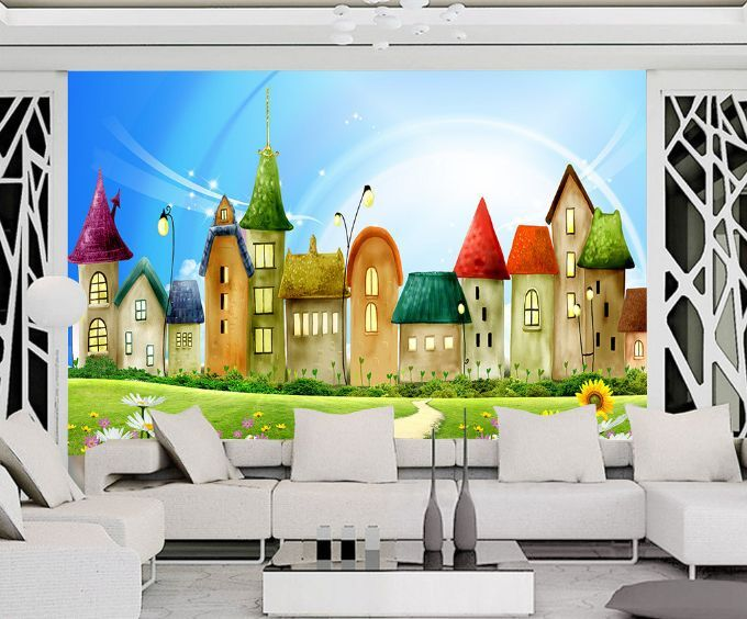 3D Grassland Tall House Paper Wall Print Decal Wall Wall Murals AJ WALLPAPER GB