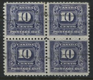 Canada-1930-10-cent-Postage-Due-used-block-of-4