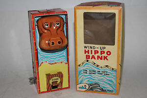 Made in Japan Yone Brand, Tin Windup Hippo Bank, Nice with Box