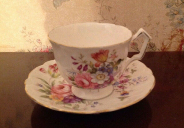 Aynsley floral tea cup and saucer, bone china made in England