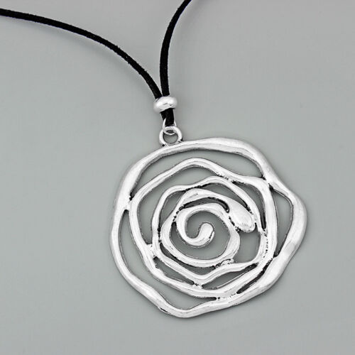 Antique Silver Necklace Statement Necklace Large Spiral Swirl Silver Necklace Spiral Necklace Spiral Pendant Statement Pendent