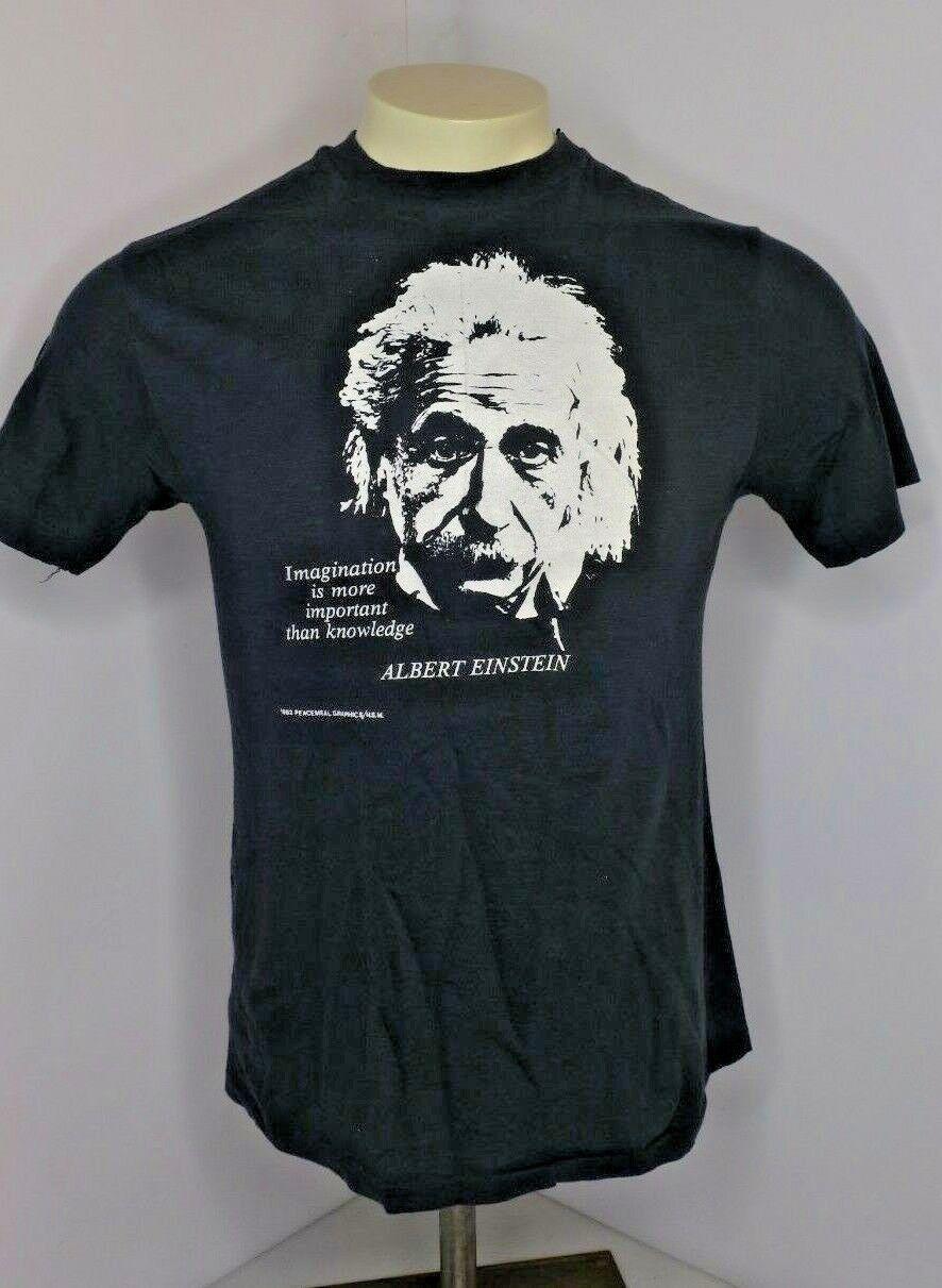 VTG 80s Albert Einstein T Shirt Single Stitch SOFT THIN M Imagination Knowledge
