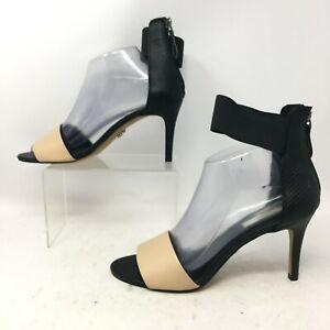 Simply Vera Womens 9B Open Toe Snakeskin Ankle Strap Zip Heel Sandal Black Tan