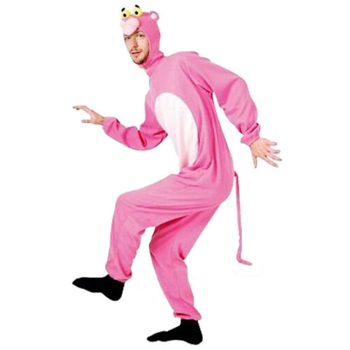 SW Mens Costume Fancy Dress Pink Panther Kitty Cat Adult Jumpsuit Novelty Mascot
