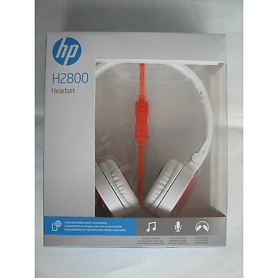 HP Stereo Headset H2800 White Orange F6J05AA Headphones with Microphone New